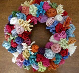 Recycled sweaters wreath@sonenskadu.blogspot