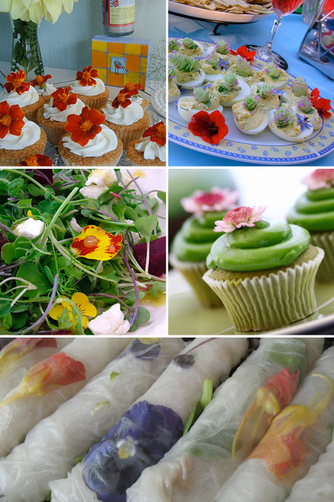 Edible-flowers-food-salad-cupcakes-summerrolls-bohocircus