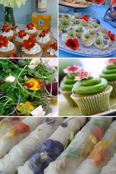 Edible-flowers-food-salad-cupcakes-summerrolls-bohocircus