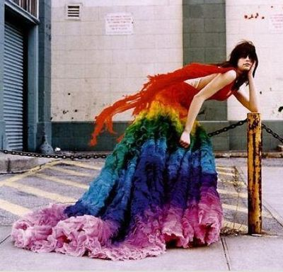 Rainbowweddingdressbohobohocircus