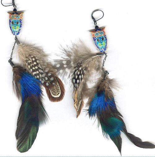 Owl-earrings-feathers-boho-bohocircus