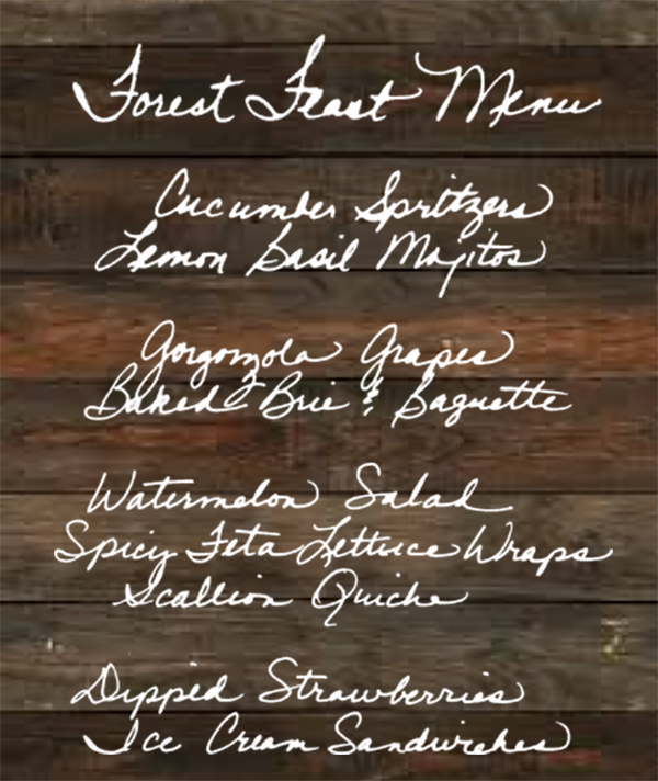 Forest feast menu