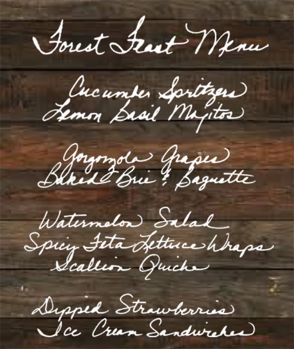 Forest feast menu